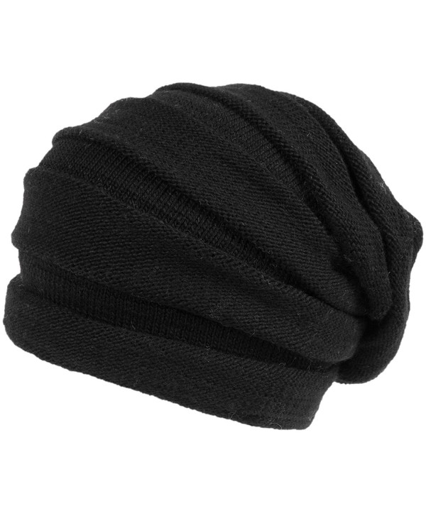 Nirvanna Designs CH609 Stripe Tube Slouch Hat with Fleece - Black - CV11H7RBX07
