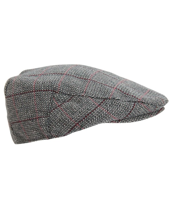 Universal Textiles Mens Traditional Lined Flat Cap - Green/Gray - C912EWFTP1Z