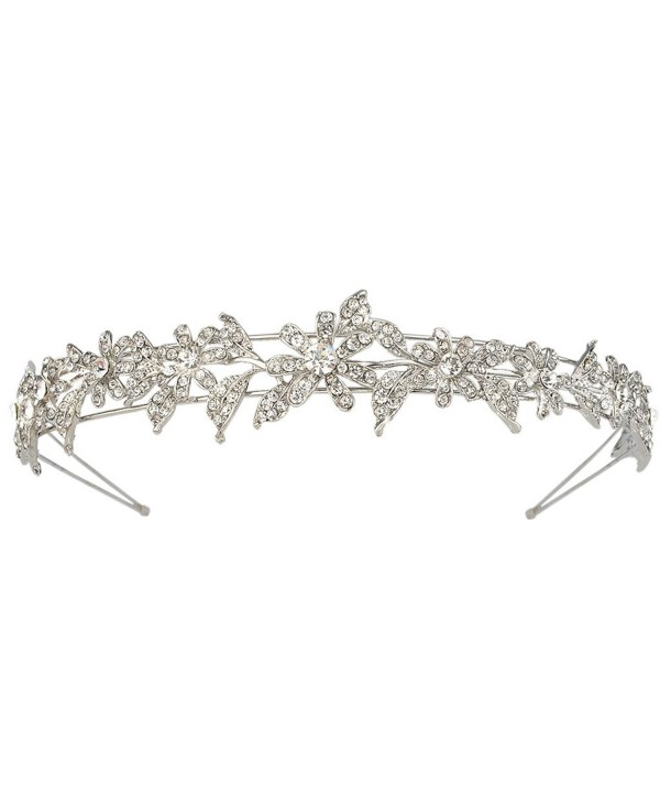 EVER FAITH Silver-Tone Austrian Crystal Elegant Bridesmaid Flower Hair Band Clear - CR11JOLD109