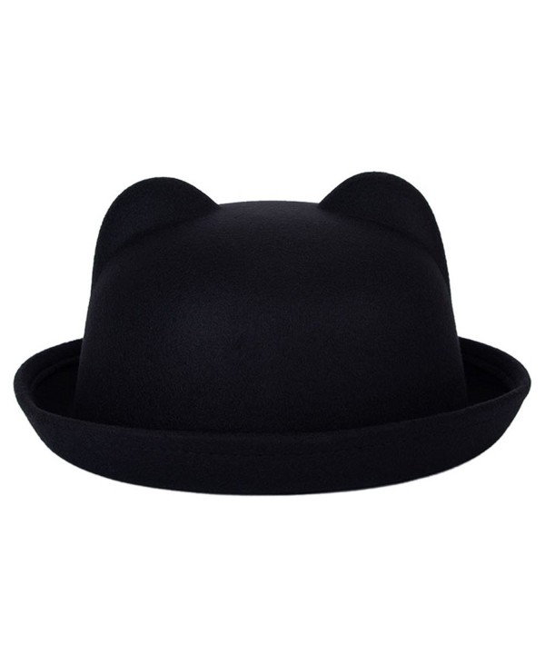 Timall Ladies Fedora Wool Brim Round Bowler Caps Derby Bow Cloche Hat Cap - Black - C112K8X5QV3