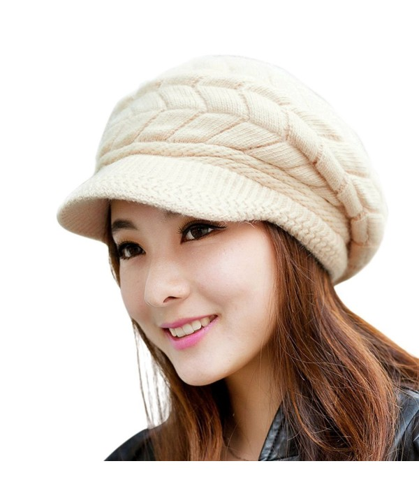 Loritta Womens Winter Warm Knitted Hats Slouchy Wool Beanie Hat Cap With Visor - C-beige - C412O59MDDI