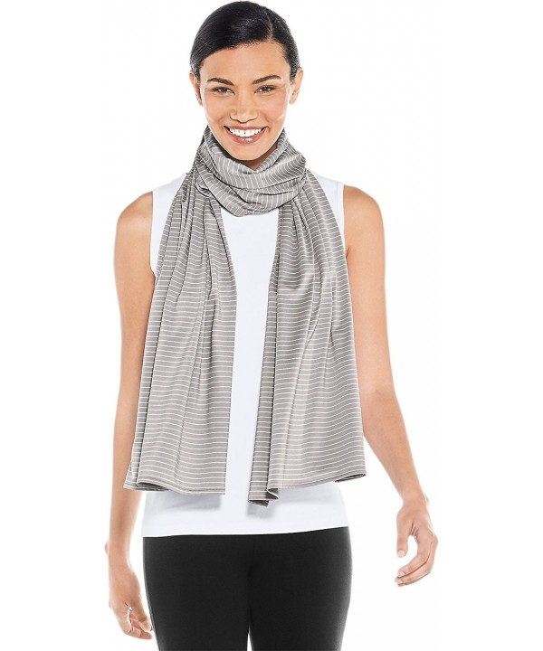 Coolibar UPF 50+ Women's Performance Sun Shawl - Sun Protective - Light Grey/White Stripe - CD189RC0KCX