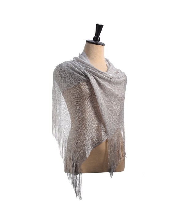 Womens Sheer Bridal Weddings Party Evening Shawl Wrap Fringed Sparkle shiny Scarf - Metallic Silver - CO183XR038R