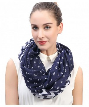 Lina & Lily Chevron and Anchor Print Infinity Loop Scarf for Women Lightweight - Navy and White - CW11POY3NNP