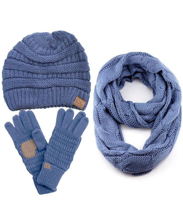 ScarvesMe CC 3pc Set Trendy Warm Chunky Soft Stretch Cable Knit Beanie Scarves Gloves Set - Denim - CN187GLEQ5R