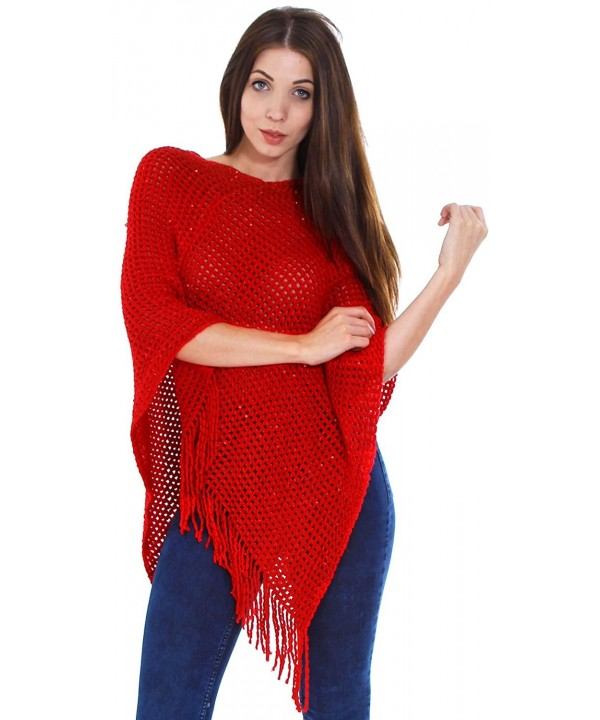 Simplicity Women's Oversize Soft Knitted Poncho / Cape - 3415_Red - CK11GQJMM1B