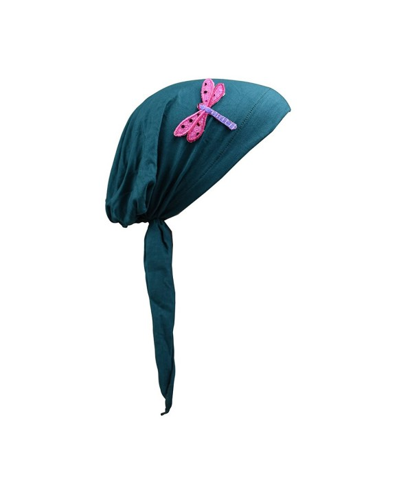 Pretied Head Scarf Sequin Dragonfly Modesty Chemo Cap - Dark turquoise - CE12OE2DC4C