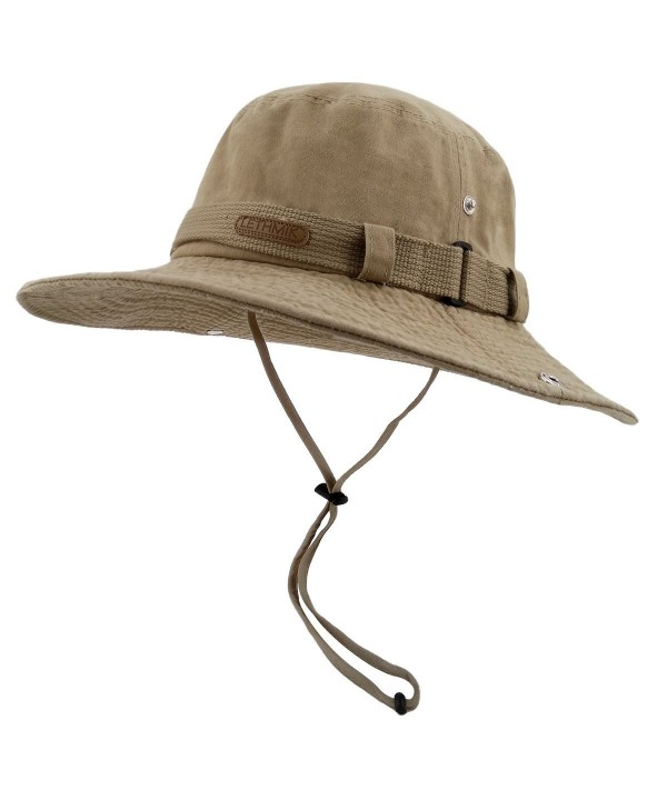 LETHMIK Fishing Sun Boonie Hat Summer UV Protection Cap Outdoor Hunting Hat - Khaki (Washed Cotton) - C517Z6DW4M5