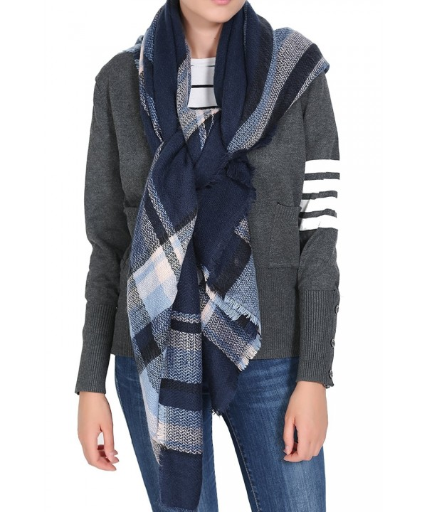 ReachMe Womens Blanket Scarves Warm Oversized Blanket Shawl Wrap Holiday Gifts - Navy Blue Mix - CJ12N5NHVVY