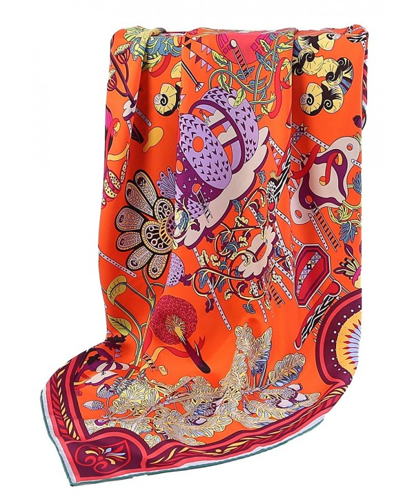 Grace Scarves 100% Silk Scarf- Large- Twill - Fairy Land- Orange - CF12NSJTSLT