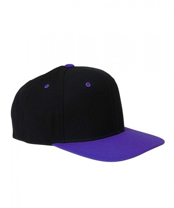 Yupoong Wool Blend Snapback Two-Tone Snap Back Hat Baseball Cap 6098MT Black / Purple - CO118BLNL6R