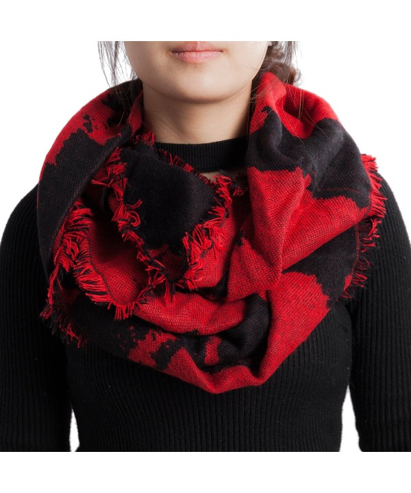 Seven Flowers Plaid Knitted Infinity Scarves for Women - 3-red - CZ1872LGSGX