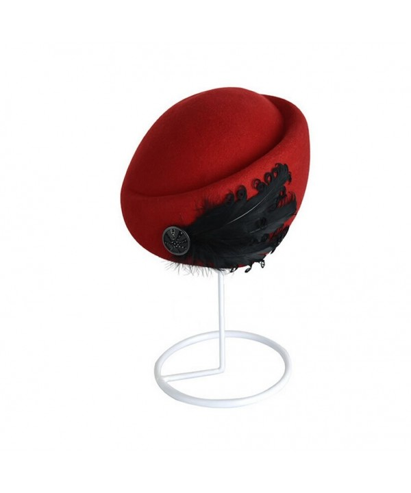 Women Beret Hats- FuzzyGreen Vintage FeatherBeret Cap Hats - Red - CE11PR21THB
