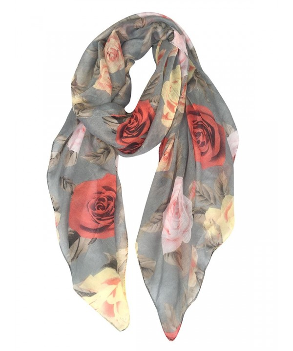 GERINLY Rose Blossom Print Scarf for Women Cozy Shwal Wrap -Various Colors - Gray - CE186C6CDT7