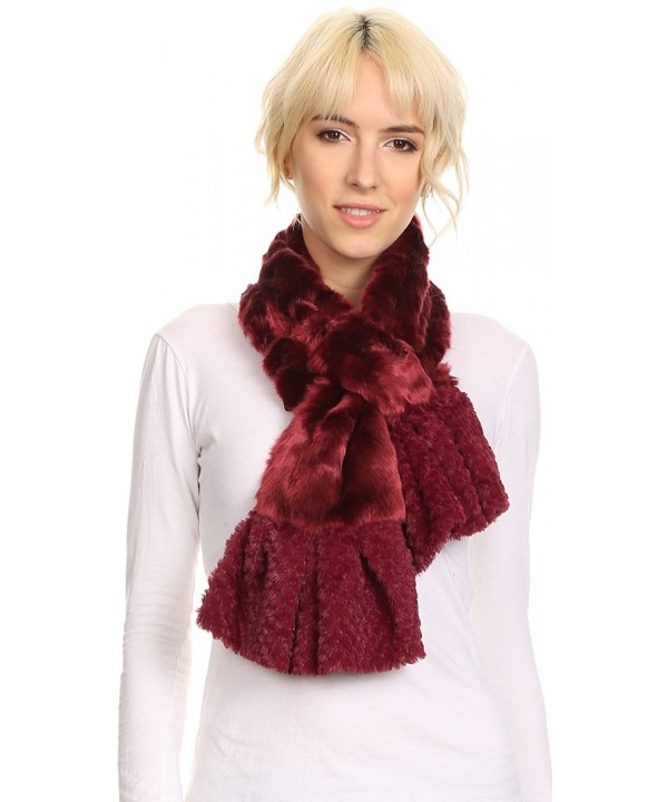 Sakkas Nadia Long Thin Soft Warm Comfort Faux Fur Scarf With Flare Ruffle Ends - Burgundy - C412MWYCO7A