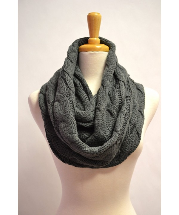 Anytime Scarf Women's Chunky Grey Cable Knitted Infinity Loop Circle Scarf - CY11BFD9HN9