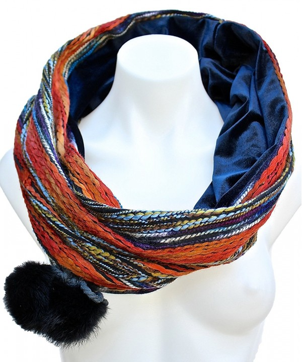 Terra Nomad Women's Velvet Lined Snood Infinity Loop Circle Scarf w/ Pom Poms - Orange/Vintage Blue - C411B516WE3