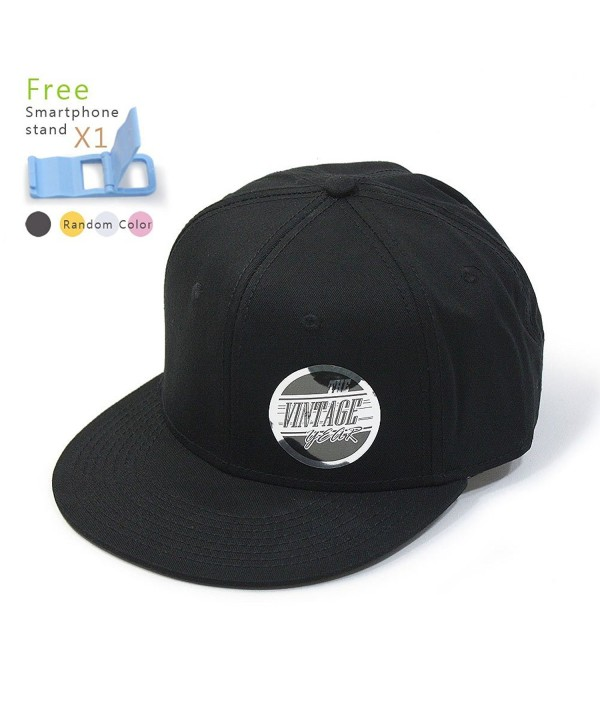 Premium Plain Cotton Twill Adjustable Flat Bill Snapback Hats Baseball Caps (Varied Colors) - Black - C512BIXI4TD