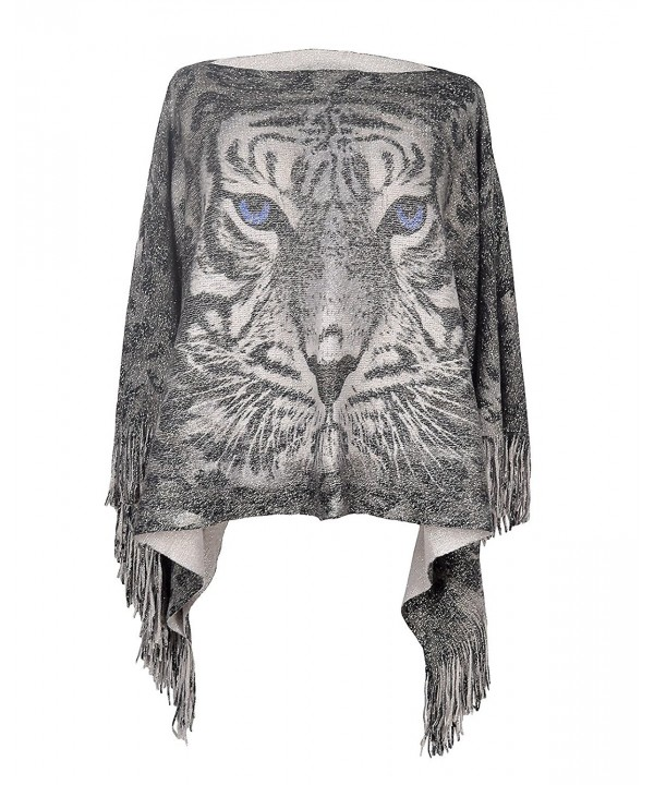 Lady's Tiger Pattern Tassels Sleeve Shawl Poncho Cape Batwing Tops for Women - Grey - C1186RAO2LG