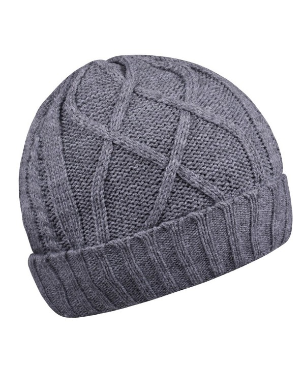 Cotton Skull Cap Slouch Hat Thick Knit Winter Ski Caps Beanie Hats for Women And Men - Grey - CL187EEUYNG