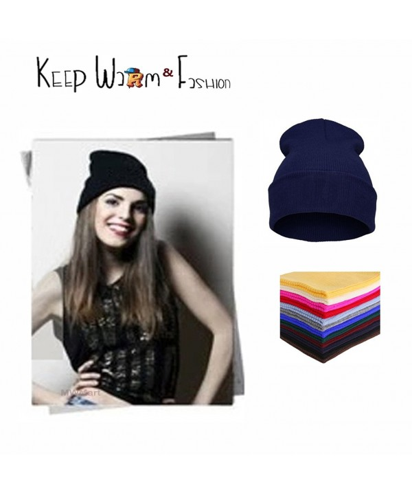MWMart Beanie Hat Slouchy Winter Hats Knit Sports Fold Beanie Cap Unisex Solid Color - Blue - C9188M53S07