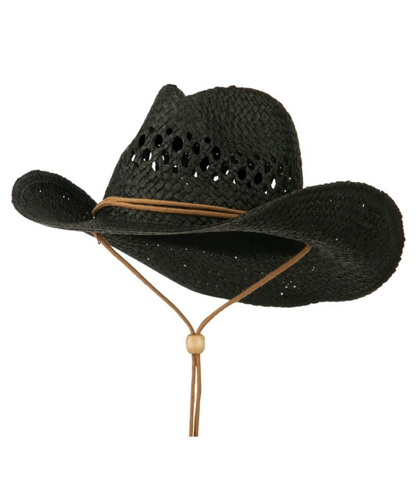 Adjustable Chin Strap Cowboy Hat - Black - CD11VTJ2CT5