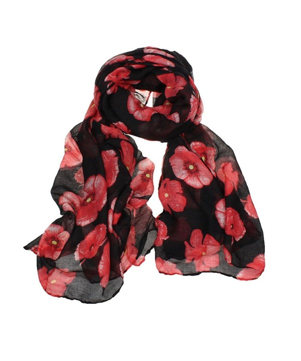 Deamyth Women Red Poppy Flower Printing Voile Scarf Long Wraps Shawl Stole Headscarf - A - C512O9QEX7T