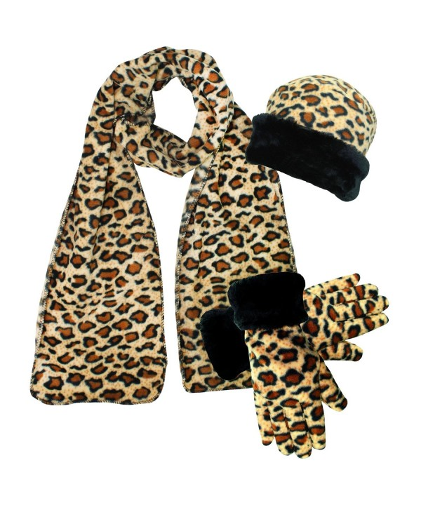 Leopard Print Fleece 3-Piece Hat Scarf & Gloves Matching Winter Set - CB187CZT2UO