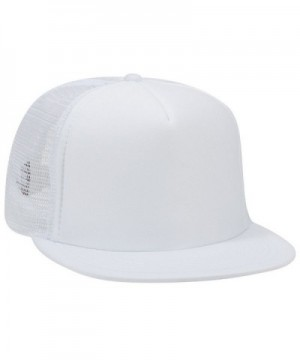 Otto Snap Round Flat Visor High Crown Mesh Back 5 Panel Trucker Snapback - White - CY12FN77OF5