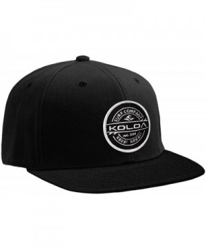 Koloa Surf Thruster Patch Logo Solid Snapback Hats - Black - C617YI0DR0K