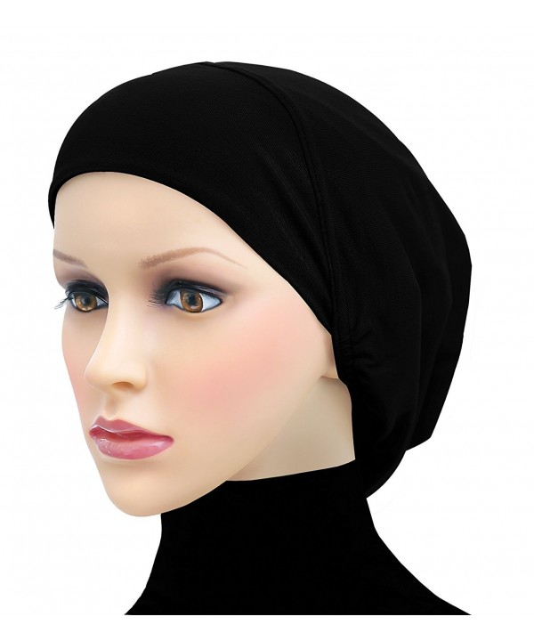Middle Eastern Mall Cotton Beanie Snood Large Hijab Chemo Cap - Black - CS180Q793SN