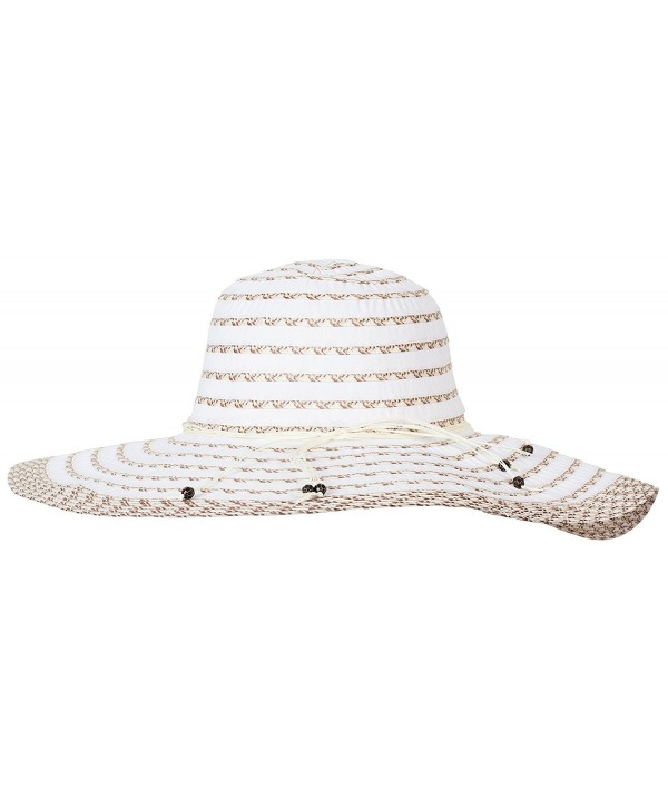 DRY77 Striped Pattern Light Sun Floppy Hat - Beige - CE123DCCR95