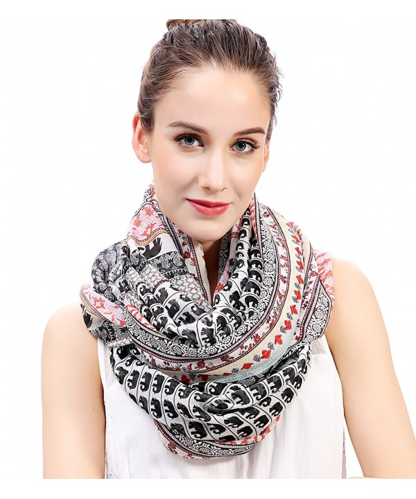 Lina & Lily Boho Elephant Print Women's Infinity Scarf Lightweight - White & Black & Red - C612M13L7UH