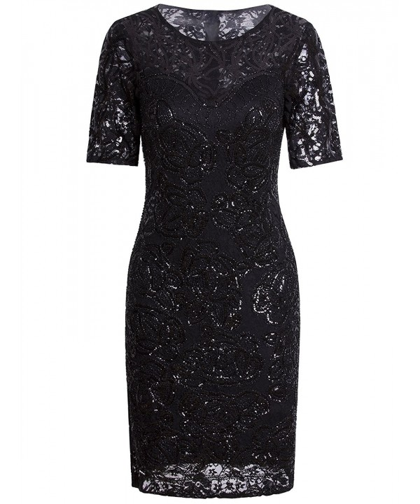 Vijiv Vintage 1920s Gatsby Sequin Beaded Lace Cocktail Party Flapper Dress With Sleeves - Black - C2187AKNXYZ