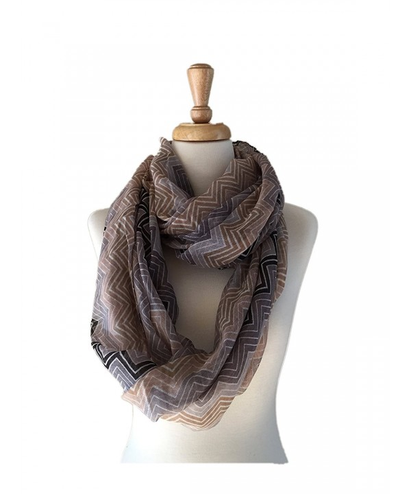 Women's Lightweight Infinity Scarf with Zig Zag Pattern - C0188DQZDCR