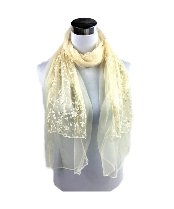 Oksale Women Soft Floral Embroidered Lace Neck Scarf Scarve Wrap Shawl - Beige - CM12O3I3ML3
