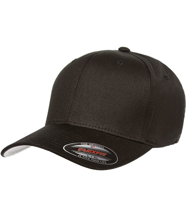 The Hat Pros Blank V-Flexfit Cotton Twill Baseball Hat - Black - C812NS1VU7V