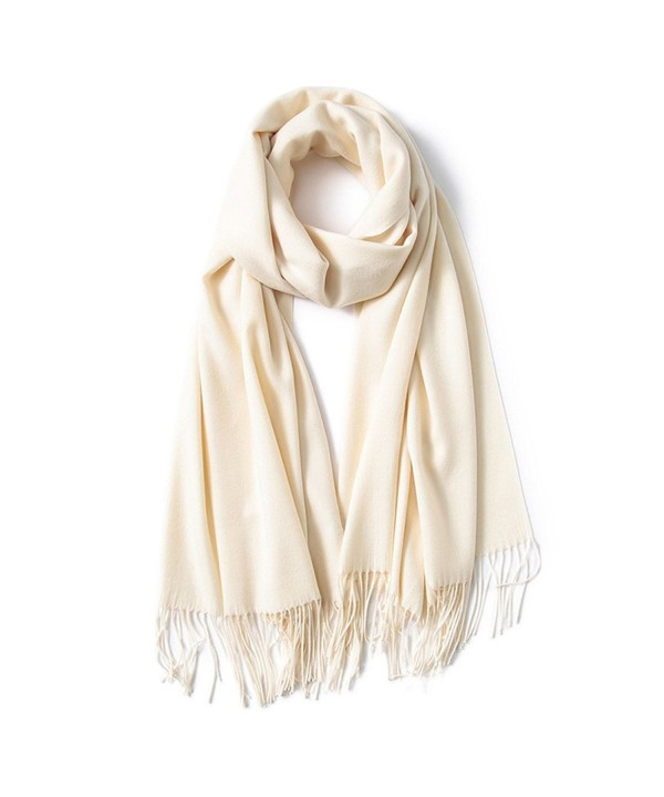 Kinikiss Women's Winter Scarf Soft Warm Long Ladies Wrap Shawl In Solid Color - Beige - CM187ILSK43