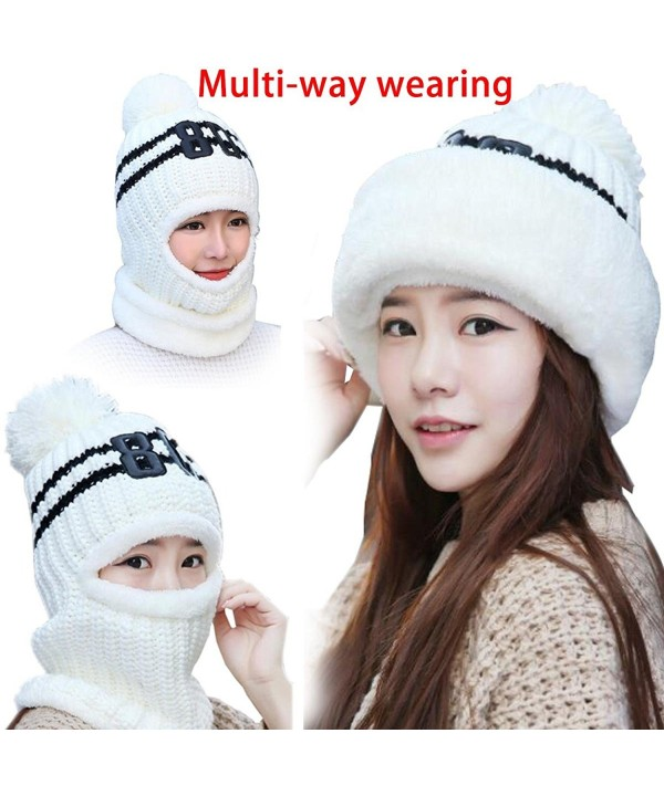 Windproof Neck Warmer Ski Face Mask Fleece Hat Balaclava Beanies 3-In-1 Women - White - CX187LK8YQU