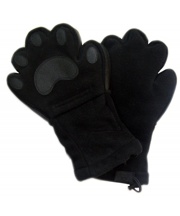 BearHands ThinsulateTM Fleece Mittens - with handy flap! (Adult) - Black - C311O520WGX
