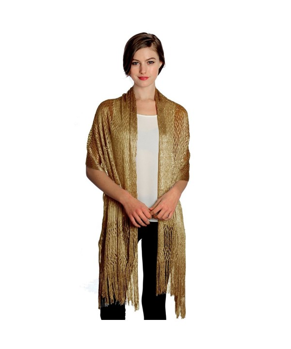 Women's Modern Metallic Fishnet Acrylic Party Shawl Fringe Lurex Evening Scarf - Gold - CN12C6DNHJL