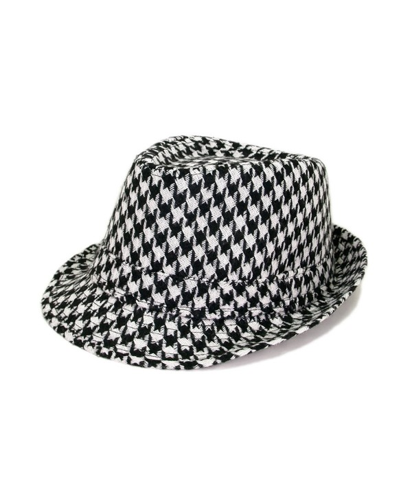 Unisex Classic Houndstooth Fedora Hat - Different Colors Available - Black & White - C911G2UB8IH
