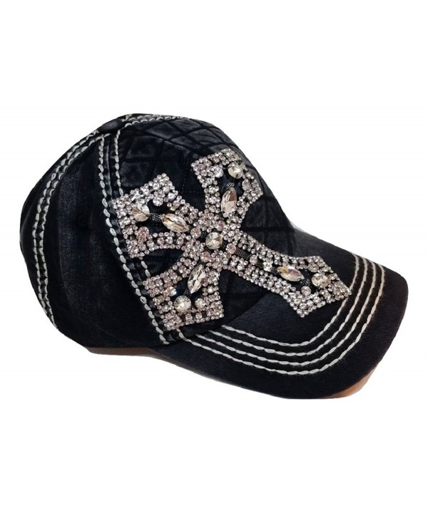 Olive & Pique Women's Rhinestone Cross Quilted Bling Baseball Cap - Black - CS17YC299Y7