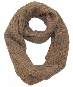 Best Winter Hats Solid Color Garter&Broken Rib Stitch Knit Infinity Scarf (One Size) - Brown - CZ11QDRQTMJ