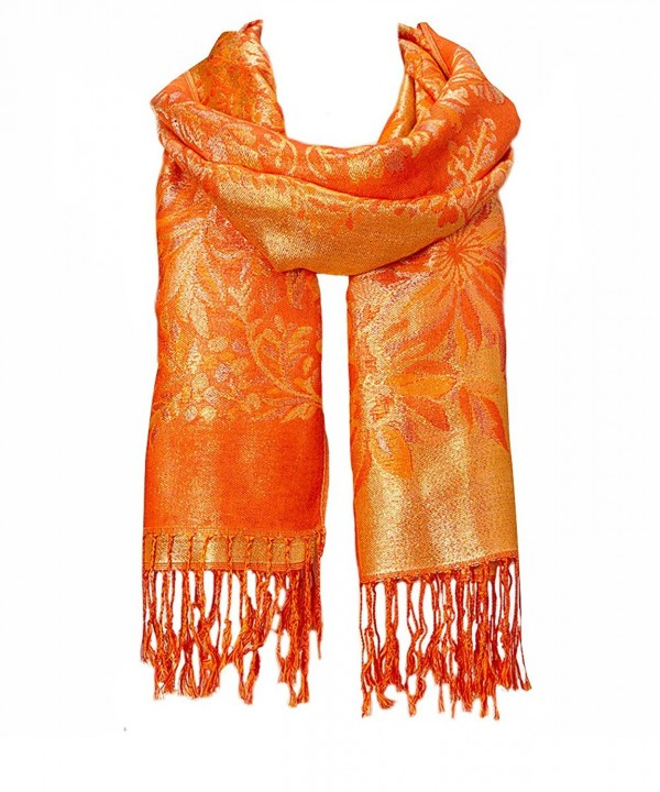 Fashion Lightweight Floral Fashion Lace Fringe Scarf Wrap Pashmina Shawl wrap Stole for Women - Orange - CM184XWZI6H