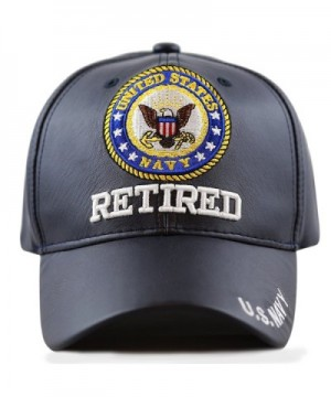 THE HAT DEPOT Official Licensed 3D Embroidered Soft Faux Leather Retired Cap - U.s.navy-navy - C212N73364D