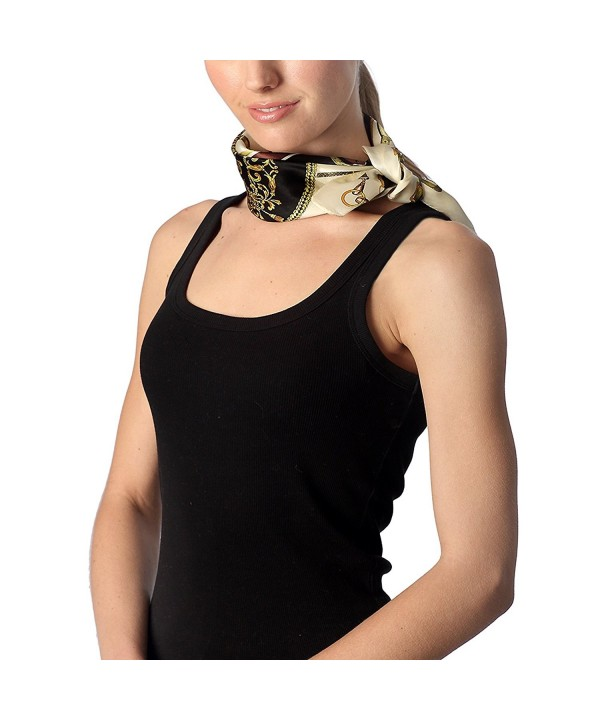 Women's Luxury 100% Silk Multi-ways Neckerchief Small Square Scarf with Brooch. - 7013 - C618206ADG0