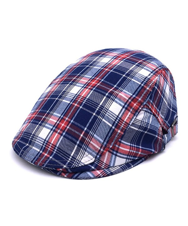 RICHTOER newsboy Cap Beret Men Women Flat Caps Summer Cotton Plaid Hat Outdoors - Blue - CV1870KM6AK