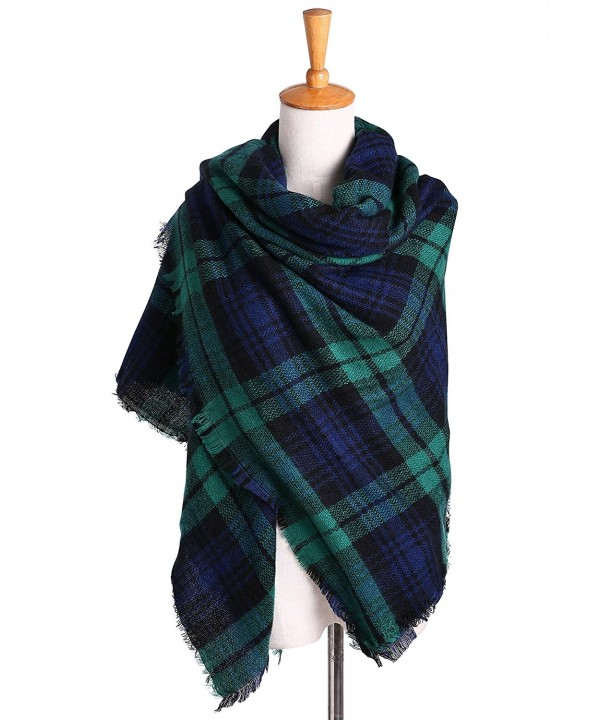 Women's Oversized Plaid Blanket Scarf Checked Warm Tartan Pashmina Wrap Shawl - Green - CU18646I99U