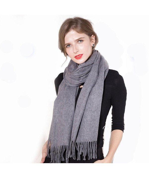 Zegailian Women Wraps Winter Warm Cashmere Imitation Solid Color Fashion Scarves - Dark Gray - CZ186XMTYR9